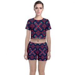 Rhombus Squares And Triangle                                                 Crop Top And Shorts Co-ord Set by LalyLauraFLM
