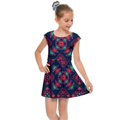 Rhombus Squares And Triangle                                                 Kids Cap Sleeve Dress
