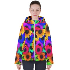 Colorful Sunflowers                                                  Women s Hooded Puffer Jacket
