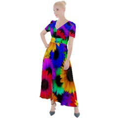 Colorful Sunflowers                                                      Button Up Short Sleeve Maxi Dress