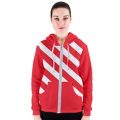 Candy Cane Red White Line Stripes Pattern Peppermint Christmas Delicious Design Women s Zipper Hoodie by genx