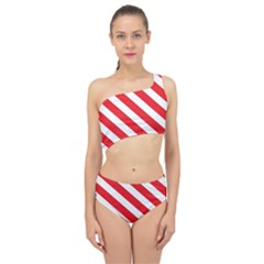 Candy Cane Red White Line Stripes Pattern Peppermint Christmas Delicious Design Spliced Up Two Piece Swimsuit by genx