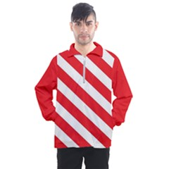 Candy Cane Red White Line Stripes Pattern Peppermint Christmas Delicious Design Men s Half Zip Pullover by genx
