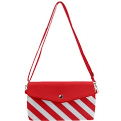 Candy Cane Red White Line Stripes Pattern Peppermint Christmas Delicious Design Removable Strap Clutch Bag by genx