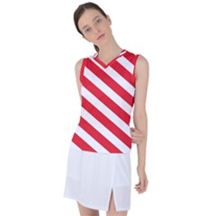 Candy Cane Red White Line Stripes Pattern Peppermint Christmas Delicious Design Women s Sleeveless Mesh Sports Top