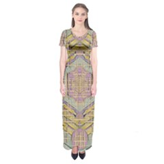 Temple Of Wood With A Touch Of Japan Short Sleeve Maxi Dress