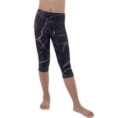 Pink Glitter Black Marble Kids  Lightweight Velour Capri Leggings  by goljakoff