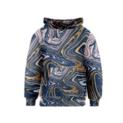 Blue And Gold Marble Kids  Pullover Hoodie by goljakoff