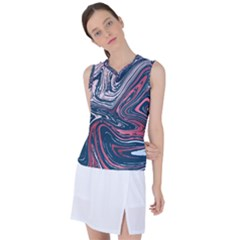 Red And Blue Liquid Marble Women s Sleeveless Mesh Sports Top