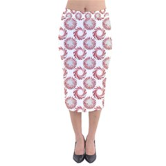 Peppermint Candy Dots Velvet Midi Pencil Skirt