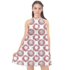 Peppermint Candy Dots Halter Neckline Chiffon Dress  by bloomingvinedesign