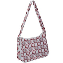 Peppermint Candy Dots Zip Up Shoulder Bag