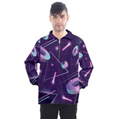 Retrowave Aesthetic Vaporwave Retro Memphis Pattern 80s Design Geometrical Shapes Futurist Pink Blue 3d Men s Half Zip Pullover by genx