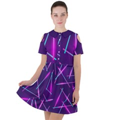 Retrowave Aesthetic Vaporwave Retro Memphis Pattern 80s Design Geometric Shapes Futurist Purple Pink Blue Neon Light Short Sleeve Shoulder Cut Out Dress