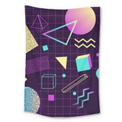 Retrowave Aesthetic Vaporwave Retro Memphis Pattern 80s Design 3d Geometric Shapes Large Tapestry by genx