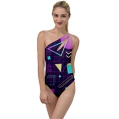 Retrowave Aesthetic Vaporwave Retro Memphis Pattern 80s Design 3d Geometric Shapes To One Side Swimsuit by genx