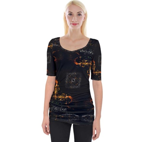 Abstract Animated Ornament Background Fractal Art Wide Neckline Tee by Bejoart
