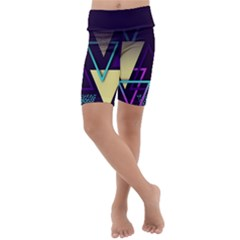 Retrowave Aesthetic Vaporwave Retro Memphis Triangle Pattern 80s Yellow Turquoise Purple Kids  Lightweight Velour Cropped Yoga Leggings by genx