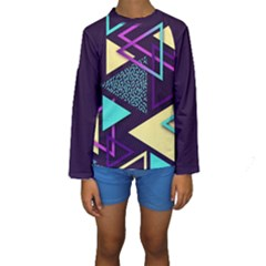Retrowave Aesthetic Vaporwave Retro Memphis Triangle Pattern 80s Yellow Turquoise Purple Kids  Long Sleeve Swimwear by genx
