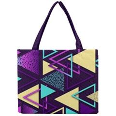 Retrowave Aesthetic Vaporwave Retro Memphis Triangle Pattern 80s Yellow Turquoise Purple Mini Tote Bag by genx