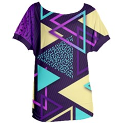 Retrowave Aesthetic Vaporwave Retro Memphis Triangle Pattern 80s Yellow Turquoise Purple Women s Oversized Tee by genx