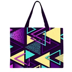 Retrowave Aesthetic Vaporwave Retro Memphis Triangle Pattern 80s Yellow Turquoise Purple Zipper Large Tote Bag by genx