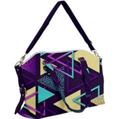 Retrowave Aesthetic Vaporwave Retro Memphis Triangle Pattern 80s Yellow Turquoise Purple Canvas Crossbody Bag by genx