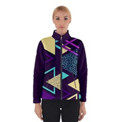 Retrowave Aesthetic Vaporwave Retro Memphis Triangle Pattern 80s Yellow Turquoise Purple Winter Jacket by genx