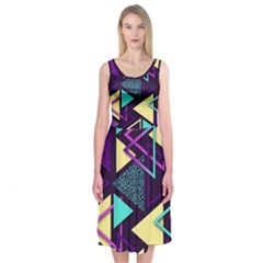 Retrowave Aesthetic Vaporwave Retro Memphis Triangle Pattern 80s Yellow Turquoise Purple Midi Sleeveless Dress by genx