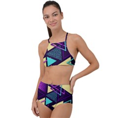 Retrowave Aesthetic Vaporwave Retro Memphis Triangle Pattern 80s Yellow Turquoise Purple High Waist Tankini Set by genx