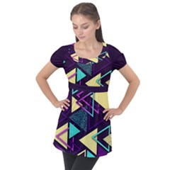 Retrowave Aesthetic Vaporwave Retro Memphis Triangle Pattern 80s Yellow Turquoise Purple Puff Sleeve Tunic Top by genx