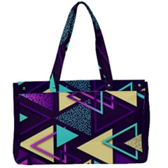 Retrowave Aesthetic Vaporwave Retro Memphis Triangle Pattern 80s Yellow Turquoise Purple Canvas Work Bag by genx