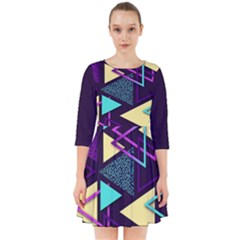 Retrowave Aesthetic Vaporwave Retro Memphis Triangle Pattern 80s Yellow Turquoise Purple Smock Dress by genx