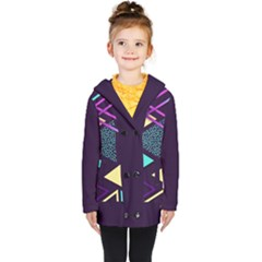 Retrowave Aesthetic Vaporwave Retro Memphis Triangle Pattern 80s Yellow Turquoise Purple Kids  Double Breasted Button Coat by genx