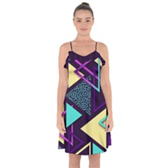 Retrowave Aesthetic Vaporwave Retro Memphis Triangle Pattern 80s Yellow Turquoise Purple Ruffle Detail Chiffon Dress by genx