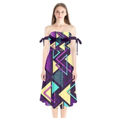 Retrowave Aesthetic Vaporwave Retro Memphis Triangle Pattern 80s Yellow Turquoise Purple Shoulder Tie Bardot Midi Dress by genx