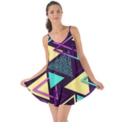 Retrowave Aesthetic Vaporwave Retro Memphis Triangle Pattern 80s Yellow Turquoise Purple Love The Sun Cover Up