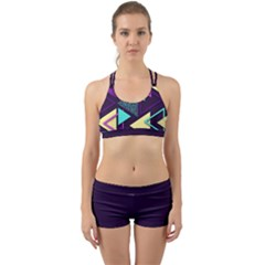 Retrowave Aesthetic Vaporwave Retro Memphis Triangle Pattern 80s Yellow Turquoise Purple Back Web Gym Set by genx