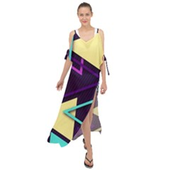 Retrowave Aesthetic Vaporwave Retro Memphis Triangle Pattern 80s Yellow Turquoise Purple Maxi Chiffon Cover Up Dress by genx