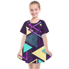 Retrowave Aesthetic Vaporwave Retro Memphis Triangle Pattern 80s Yellow Turquoise Purple Kids  Smock Dress by genx