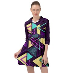 Retrowave Aesthetic Vaporwave Retro Memphis Triangle Pattern 80s Yellow Turquoise Purple Mini Skater Shirt Dress by genx