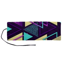 Retrowave Aesthetic Vaporwave Retro Memphis Triangle Pattern 80s Yellow Turquoise Purple Roll Up Canvas Pencil Holder (m) by genx