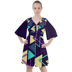 Retrowave Aesthetic Vaporwave Retro Memphis Triangle Pattern 80s Yellow Turquoise Purple Boho Button Up Dress