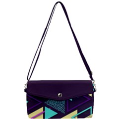 Retrowave Aesthetic Vaporwave Retro Memphis Triangle Pattern 80s Yellow Turquoise Purple Removable Strap Clutch Bag by genx