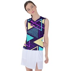 Retrowave Aesthetic Vaporwave Retro Memphis Triangle Pattern 80s Yellow Turquoise Purple Women s Sleeveless Mesh Sports Top by genx