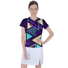 Retrowave Aesthetic Vaporwave Retro Memphis Triangle Pattern 80s Yellow Turquoise Purple Women s Mesh Sports Top by genx
