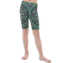 Bamboo Wood And Flowers In The Green Kids  Mid Length Swim Shorts by pepitasart