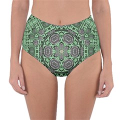 Bamboo Wood And Flowers In The Green Reversible High-waist Bikini Bottoms by pepitasart