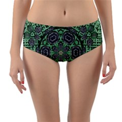 Bamboo Wood And Flowers In The Green Reversible Mid-waist Bikini Bottoms by pepitasart