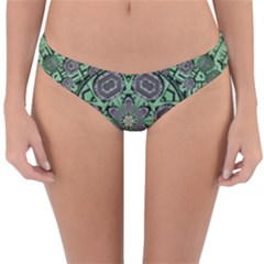 Bamboo Wood And Flowers In The Green Reversible Hipster Bikini Bottoms by pepitasart